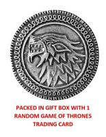 GAME OF THRONES STARK HOUSE CREST VINTAGE DIREWOLF SHIELD BADGE PIN IN GIFT BOX