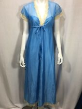 Lingerie Vintage Night Gown Blue Beige Trim Sheer Detail Empire Waist