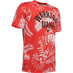 Under Armour Project Rock Tee Mens Authentic Aloha Camo Short Sleeve Shirt Red