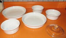 "6 Pc Casserole Oven Baking Dish Set Corning Ware French White 8"" 10"" 5"" W 1 Lid"