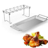 Stainless Steel Chicken Wing Leg Rack Grill Holder with Drip Pan for BBQ US