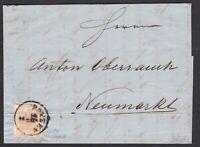 AUSTRIA TIROLO 3 kr tipo III su lettera da Bolzano per Neumarkt