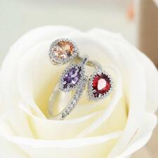 3 color Genuine Amethyst Garnet Morganite Gems Silver Adjustable Ring