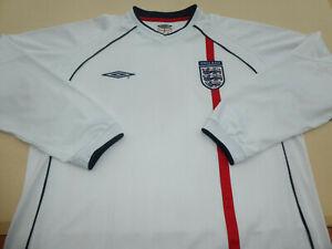 ENGLAND UMBRO WORLD CUP 2002 FOOTBALL SOCCER LONG SLEEVE SHIRT JERSEY TOP XL