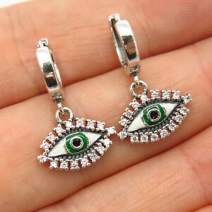 925 Sterling Silver C Z & Enamel Evil Eye Dangling Hoop Earrings