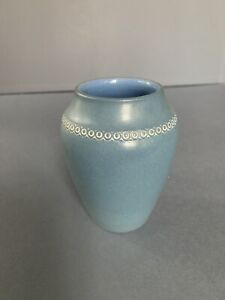 "Denver White art pottery 4.5"" matte blue cabinet vase"