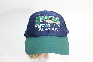 BORN TO FISH FORCED TO WORK  ALASKA OUTDOOR SPORT FISHING CAP HAT NAVY & Green