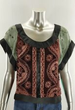 JALOUX Velvet Beaded Crop Top Blouse size SMALL S