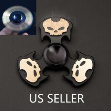 #3 Skull Aluminum Tri-Spinner Fidget Toy EDC Hand Finger Spinner BLK