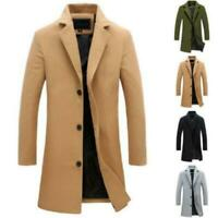 Herren Winter Trenchcoat Einreiher Winter Warme Outwear Lange Jacke Mantel Neu D
