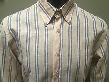 Emilio Padella Yellow Brown Striped Linen Shirt Size XL Excellent Long Sleeve