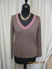 BODEN V/NECK TAUPE & PINK TOP NEW  SIZE 14
