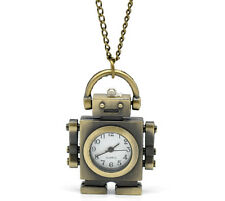 "1 Bronze Tone Necklace Quartz Robot Pocket Watch 85cm(33-1/2"")"