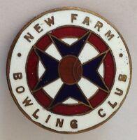 New Farm Bowling Club Badge Rare Vintage (L5)
