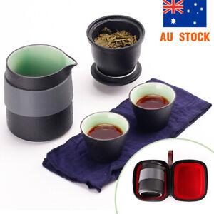 Portable Travel Ceramic Teapot Set Porcelain Chinese Kung Fu Tea set W/ Infuser