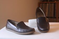 Ecco 37 Siena Brown Birch Leather Moc Flat Loafers Size 6-6.5 Extra Width