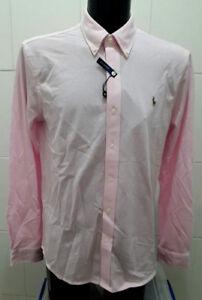 NEW Ralph Lauren Classic Men's Long Sleeve Pique Knit Shirt, Pink - L