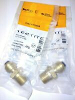 """(Lot of 2) Tectite Sharkbite Style Push Fit 1/4"""" x 1/2"""" MPT Male Adapter, Brass"""
