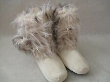 ADRIENNE LANDAU SNOW LEOPARD FAUX FUR BOOTIES WITH POMPOMS SIZE M 7/8 - NEW
