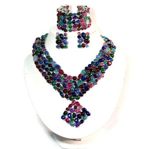 NATURAL SET FANCY CLR RUBY, AMETHYST, AQUAMARINE, APATITE, SAPPHIRE..925 SILVER
