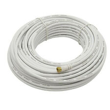 Eagle 100 FT RG6 Coaxial Cable White 75 Ohm F-Connector On End UL Listed Coax
