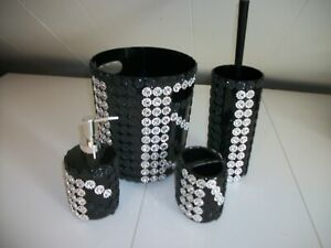 4PC BLACK AND SILVER BATHROOM ACCESSORIES SET