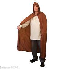 NEW MENS LADIES MEDIEVAL JEDI HOBBIT FANCY DRESS COSTUME HOODED BROWN CAPE CLOAK