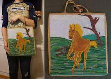 Large 1930's Native American Nez Perce Yakama Running Horse Contour Beaded Bag