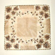 "Vintage Brown Nylon Scalloped Edge Painted Leaf Tips Hankie 13.5"" Square"