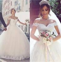 b024New White//ivory lace  Wedding dress Bridal Gown custom size2 4 6 8 10++