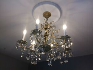 Antique/vintage Spanish brass and crystal chandelier