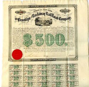 1867. $500  New York.   Brooklyn & Rockaway Railroad Company Bond