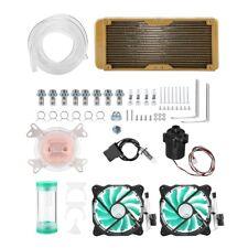 PC Liquid Water Cooling Kit 240mm Radiator CPU Block Pump Reservoir Tube 2 Fan