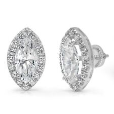3.54ct Marquise Cut Halo Stud Solitaire Earrings Solid 14k White Gold Screw Back