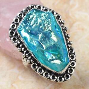 Titanium Druzy 925 Silver Plated Handmade Gemstone Ring US Size 7.5 Ethnic Gift
