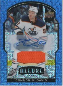 20-21 2020-21 UD Allure Connor McDavid BLUE LINE AUTO JERSEY #50-Oilers-25 Exist
