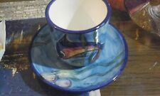 DOLPHIN CAPPUCCINO TEA CUPS SAUCERS LEAF CARNIVAL PATTERN GLASS VERY PRETTY