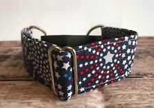 "Blue Fireworks 1.5"" Wide Greyhound Martingale, Large Dog Collar For Sighthounds"