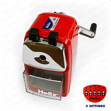 Helix Desktop Red Rotary Pencil Sharpener Metal Heavy Duty Body & Desk Clamp