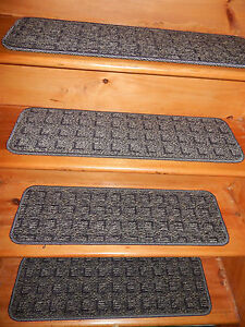 """13  STEP  Indoor Stair Treads Staircase  9"""" x 30""""  Carpet soft backing ."""