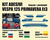 Kit Adesivi Vespa Piaggio 125 et3 Primavera COFANO PARAFANGO Fregi Targhette