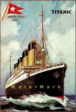 White Star Line 1912 Titanic Ocean Liner Ship Vintage Poster Print Travel Decor