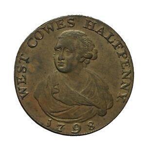 Hampshire West Cowes Isle of Wight Halfpenny Token 1798  D&H 94