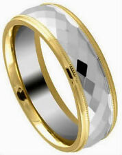 TUNGSTEN CARBIDE Diamond Faceted BAND RING with Gold Plated Edges, size 9