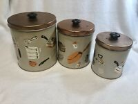 Set of 3 Vintage WEBRO Chicago Metal Kirchen Canisters Copper Silver