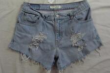 "Womens 30"" Zipper Fly Levi Cut Off Stretch Denim Shorts Daisy Duke Distressed"