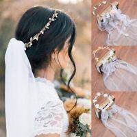 Wedding Bride Headband Flower Wreath Crown Garland Floral Headdress Hairband