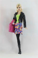 5in1 Set Jacket+dress+leggings+boots+Bag FOR Barbie Doll Clothes Girl Gift