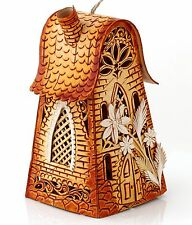 """Russian Birch Bark Wooden Bell Handmade Flower House Rare Limited Edition 4"""""""
