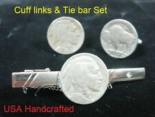 Vintage Genuine Coin Buffalo Indian Handmade Tie Bar Clip Cufflinks Set America